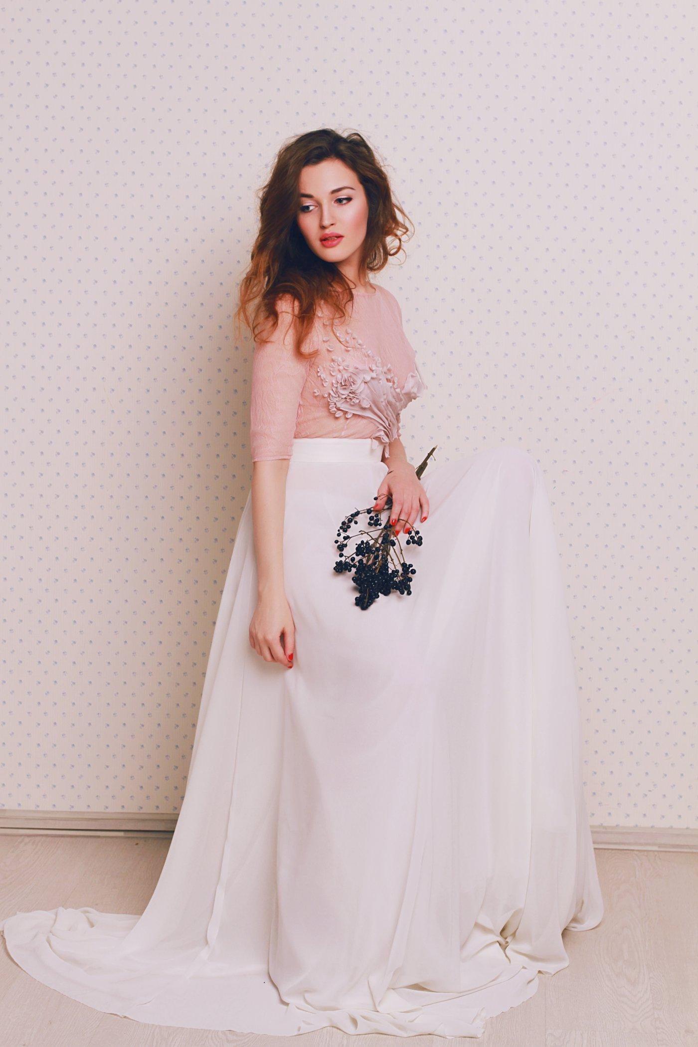 Non Corset Wedding Dress With A Rose Beige Bodice