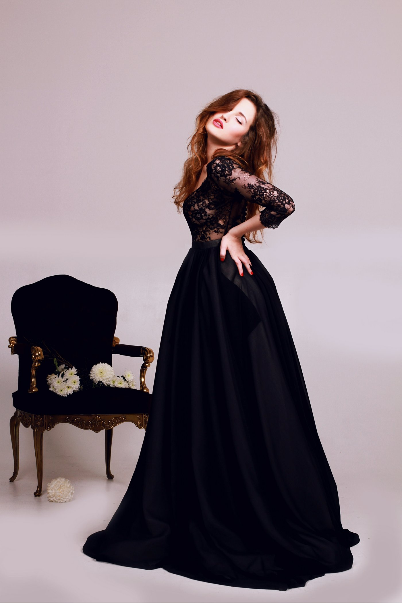 Black Non Corset Wedding Dress With Lace Bodice Cathy Telle