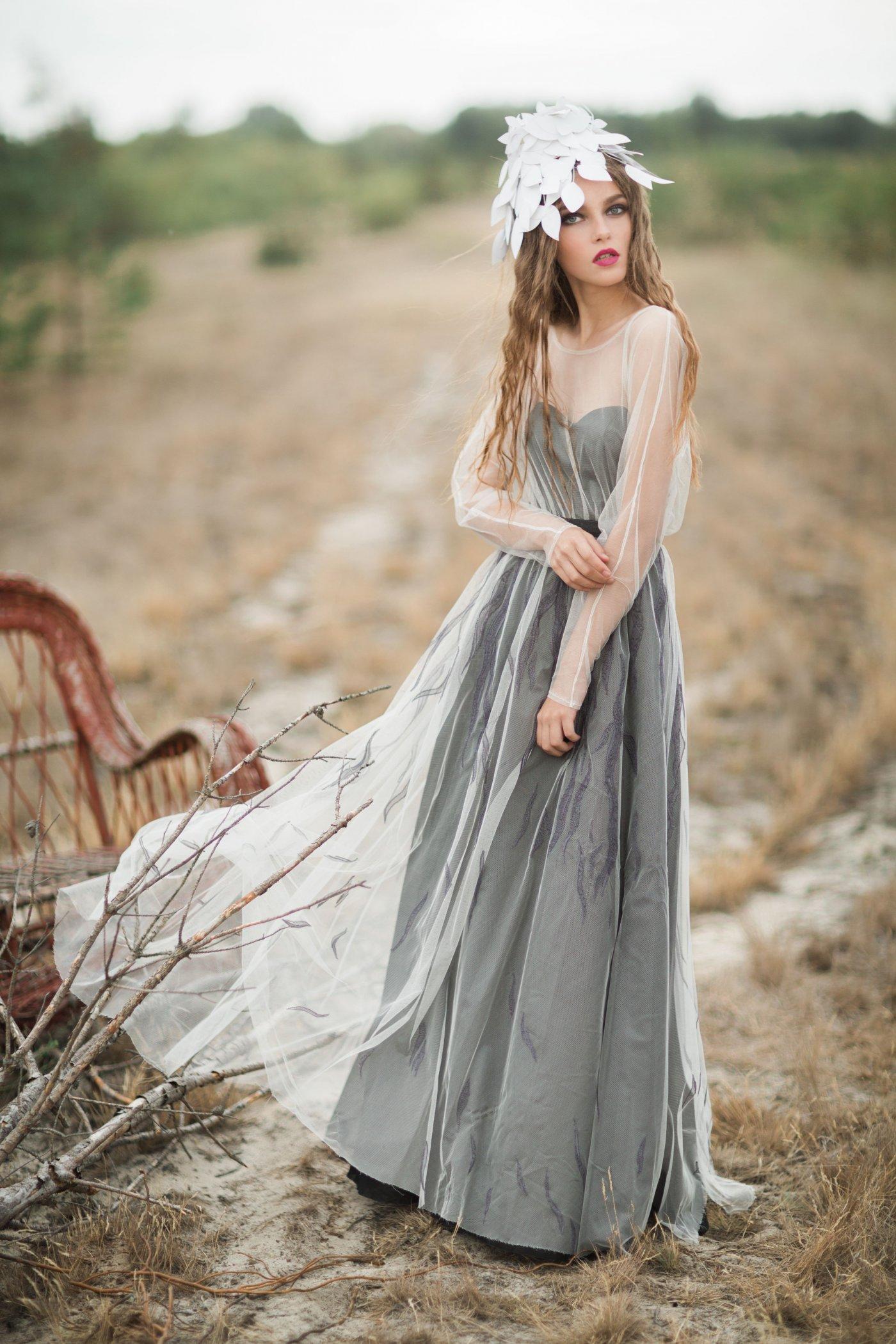 Black silk-chiffon open back wedding dress with long sleeve ...