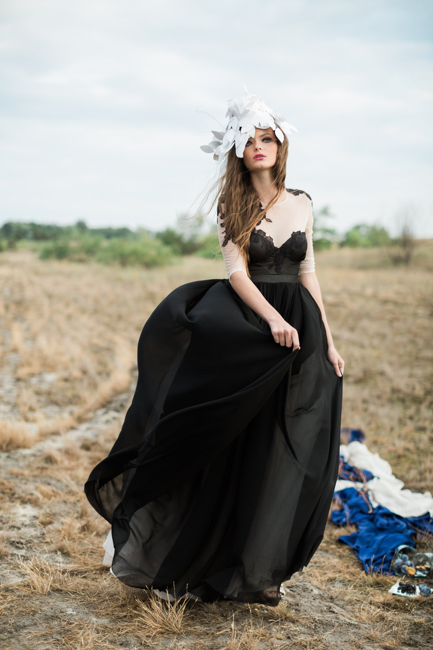 Black Wedding Gown.Black Wedding Dress With Sheer Elbow Sleeve And Floral Lace Appliques