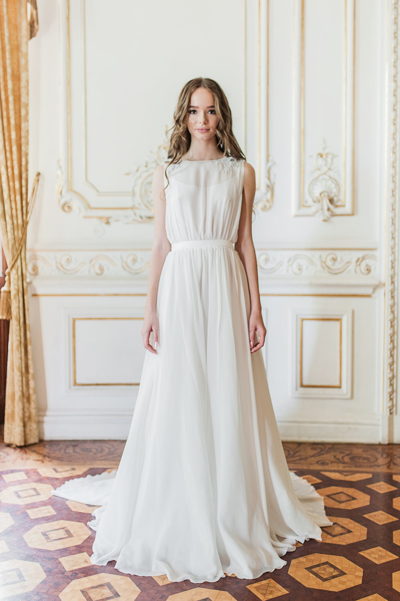Off-white wedding gown with sheer embroidered back | Cathy Telle