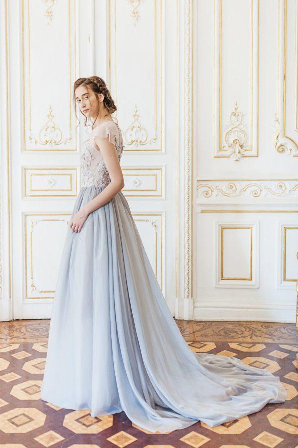 Blue grey wedding gown