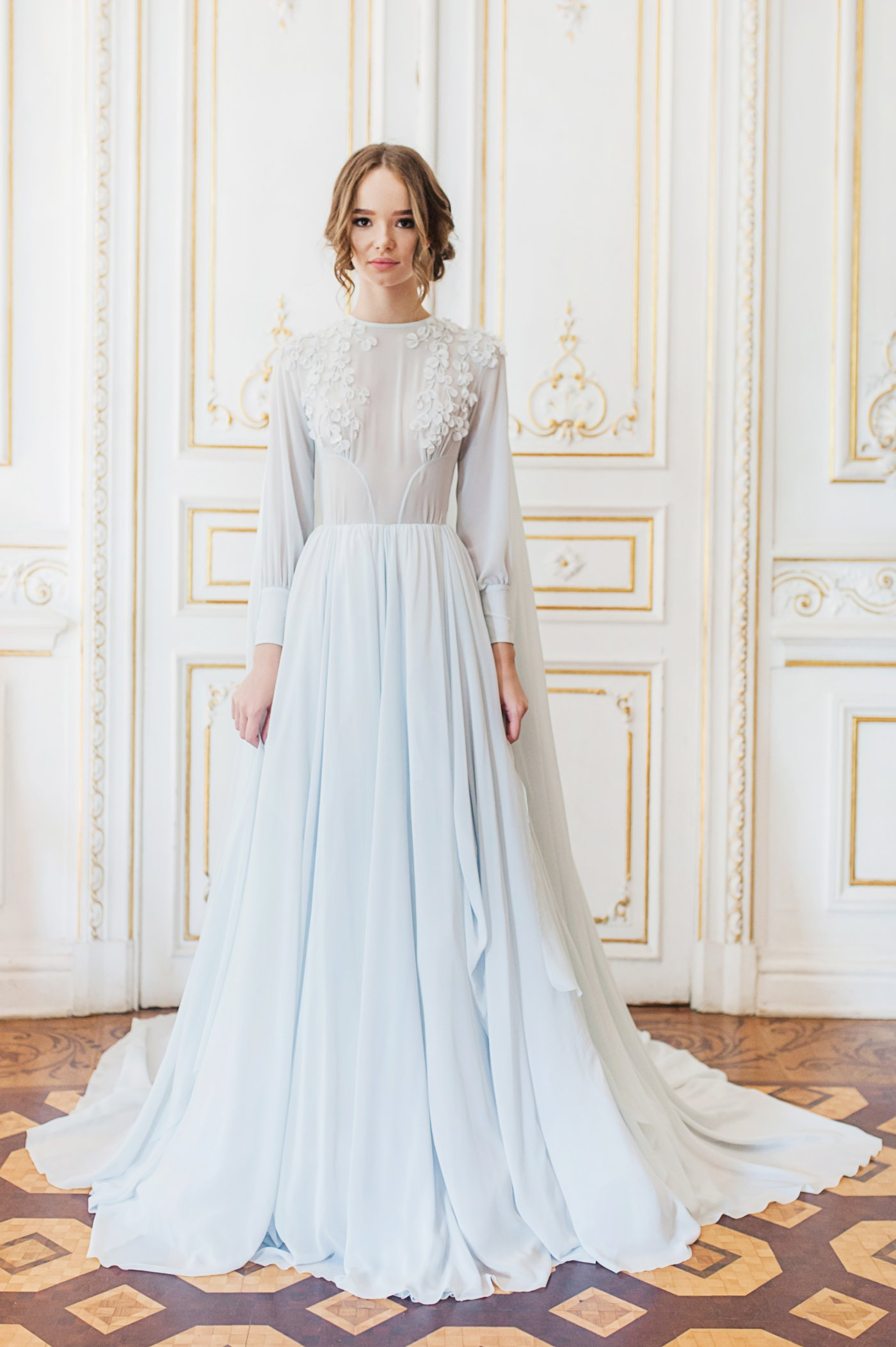 Blue Cape Wedding Gown With Hand Cut Silk And Crystal Embroidery Cathy Telle