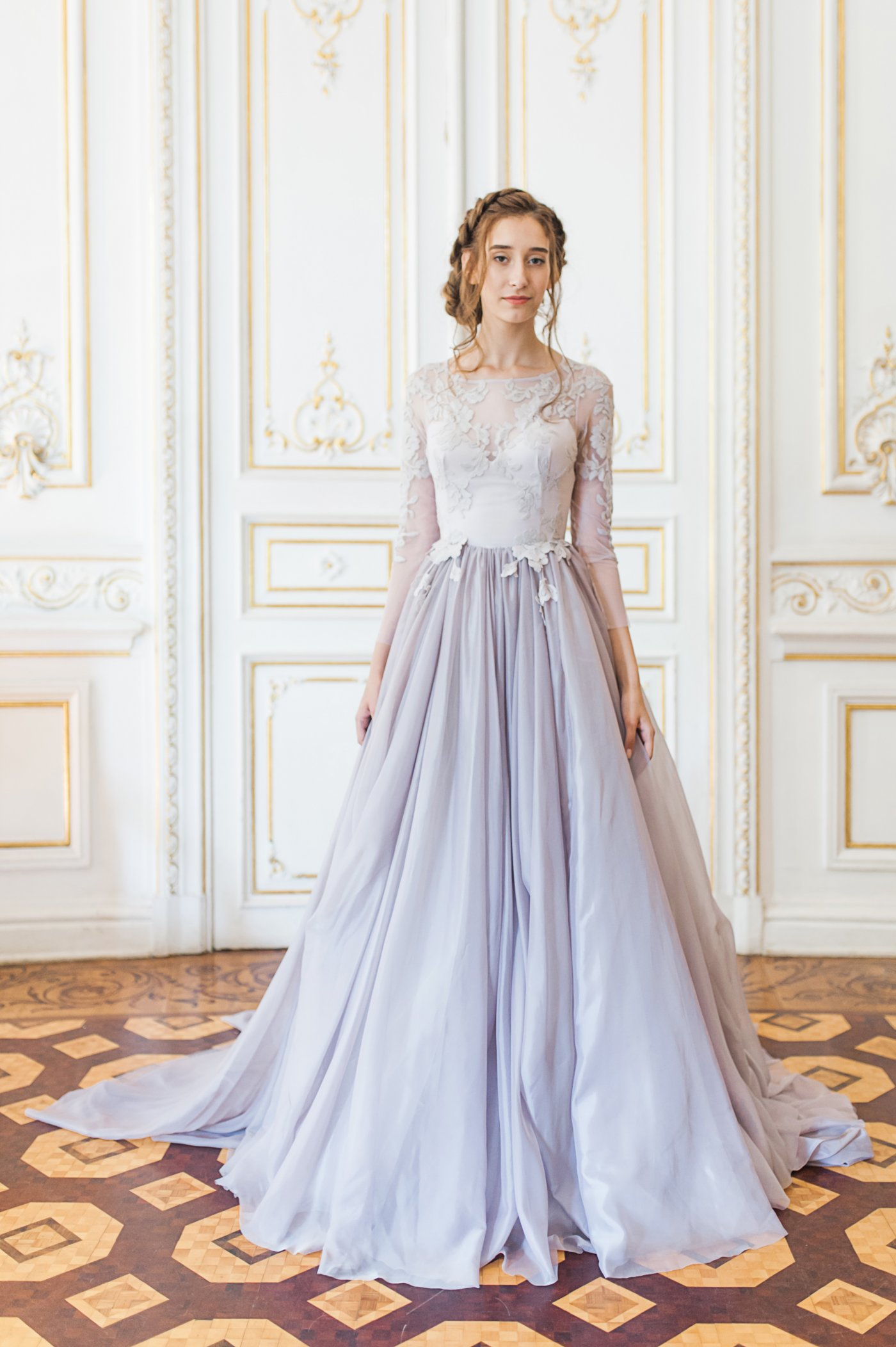 Lavender wedding gown with sheer sleeves and floral appliques ...