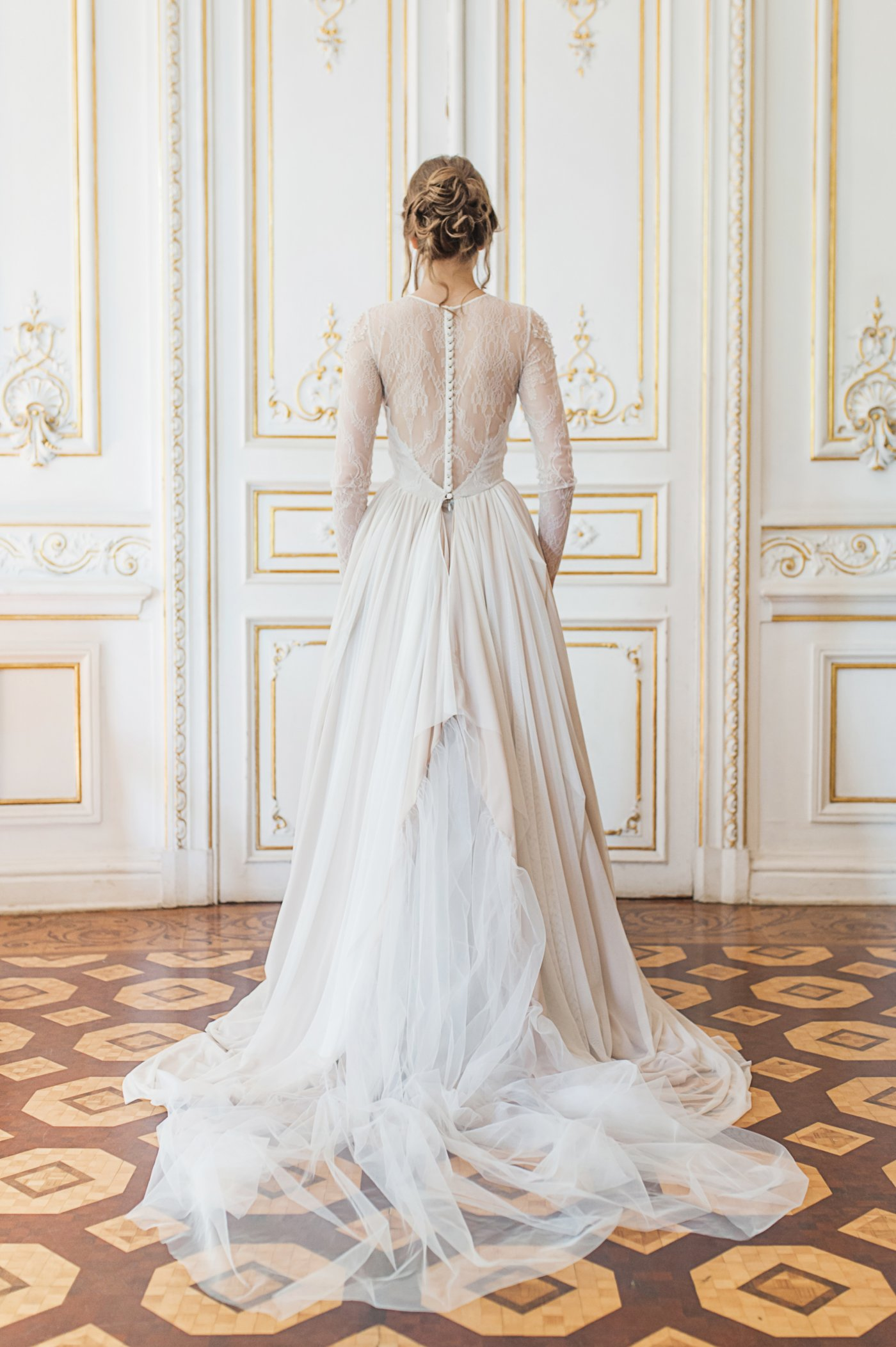 Nude wedding gown with tiered skirt and crystal embroidery | Cathy Telle
