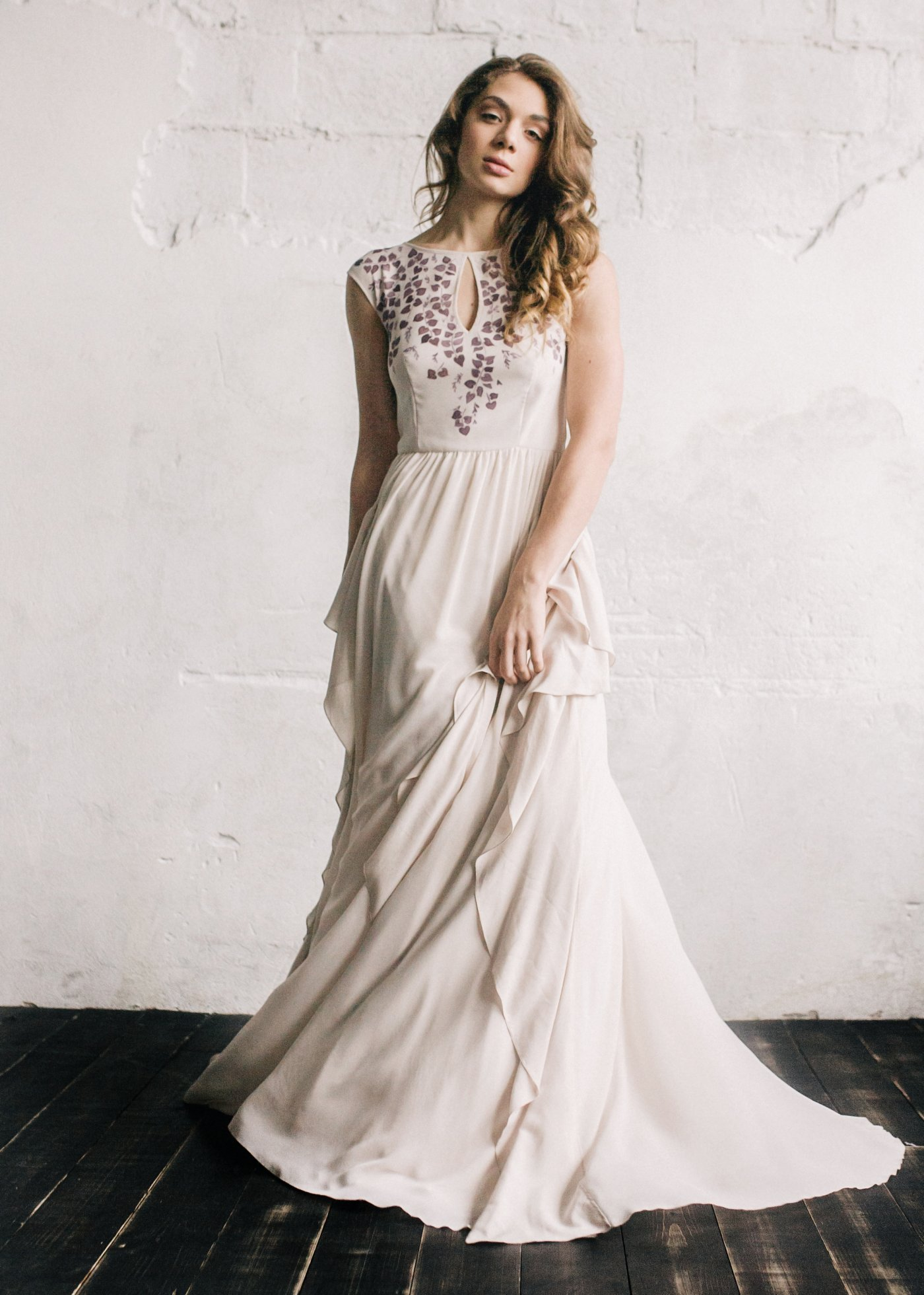 Nude wedding dress with hand-painted bodice and volant skirt | Cathy ...