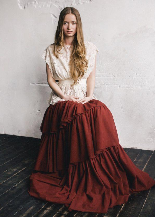 Wedding dress with removable burgundy skirt