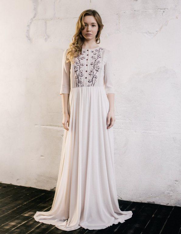 Nude elbow sleeve wedding dress
