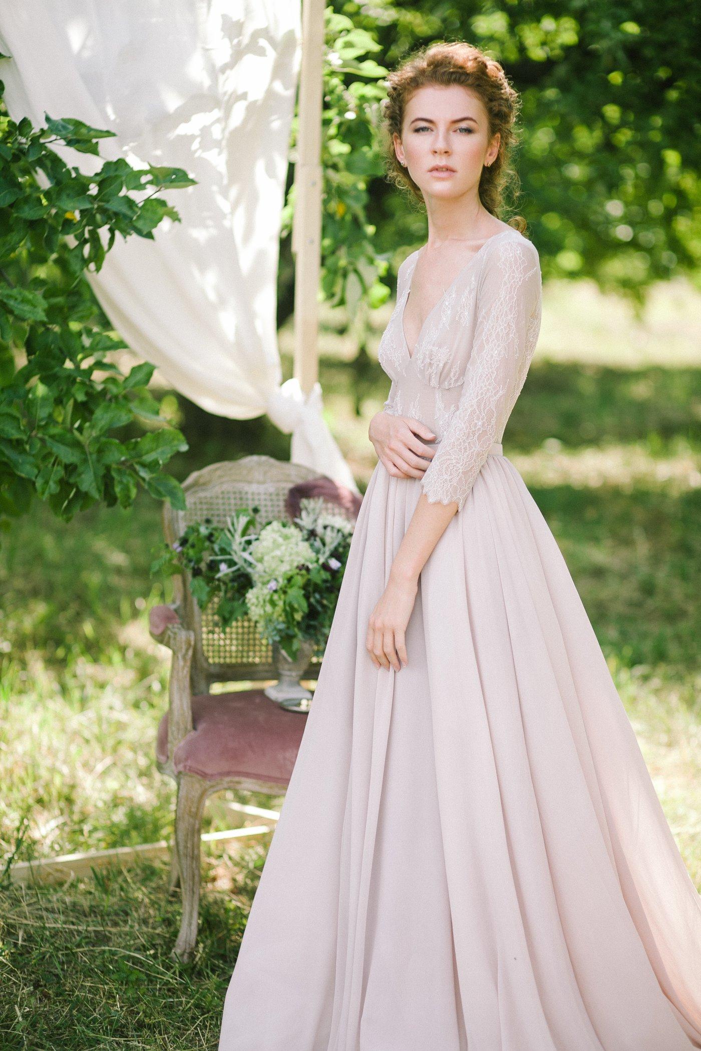 Non-corset a silhouette lavender wedding dress with a lace bodice ...