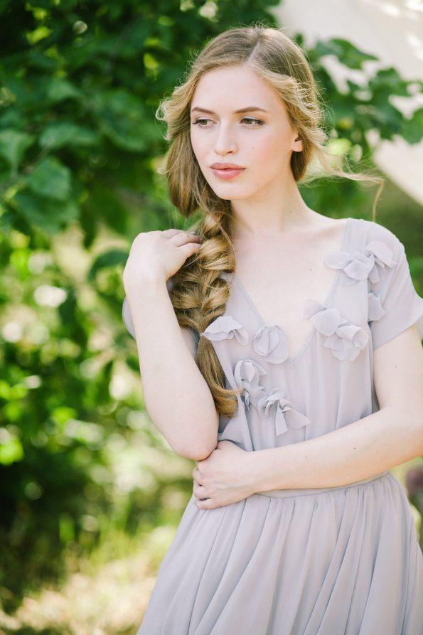A-Silhouette Gray Wedding Dress