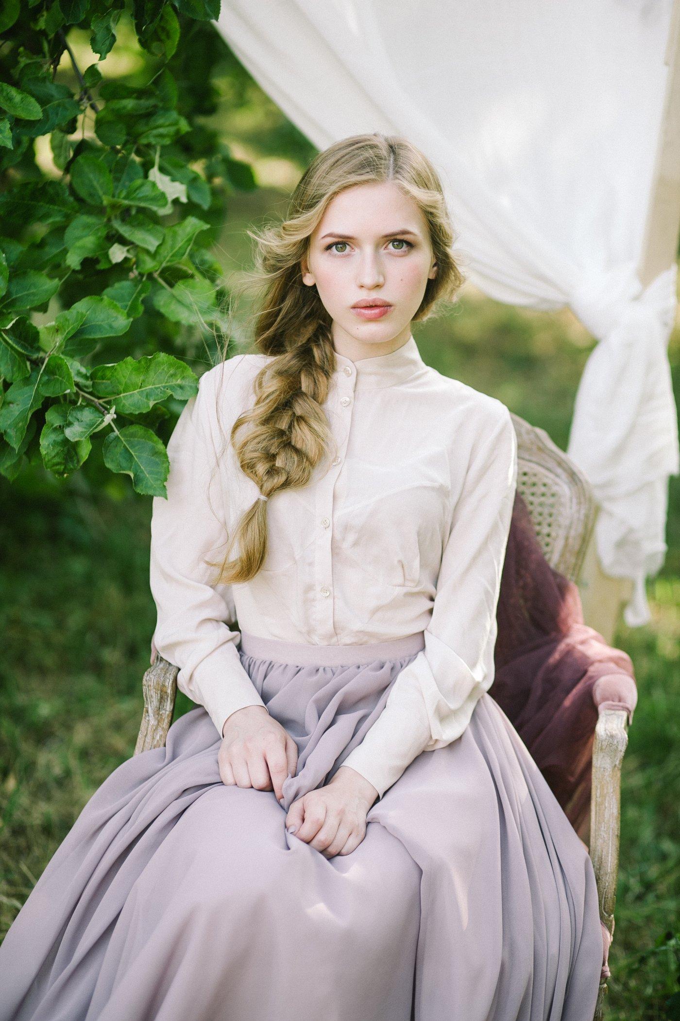 Home Wedding Dresses Shirtwaist Cotton Dress With Layered Skirt
