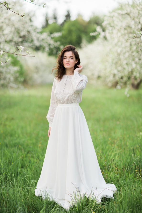 Lace shirtwaist wedding dress