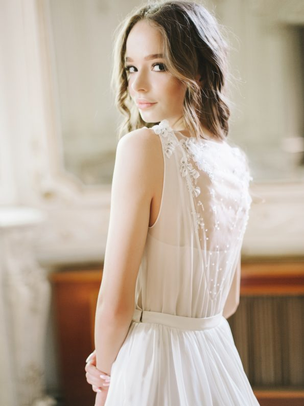Off-white wedding gown by Tatyana Chaiko and Cathy Telle