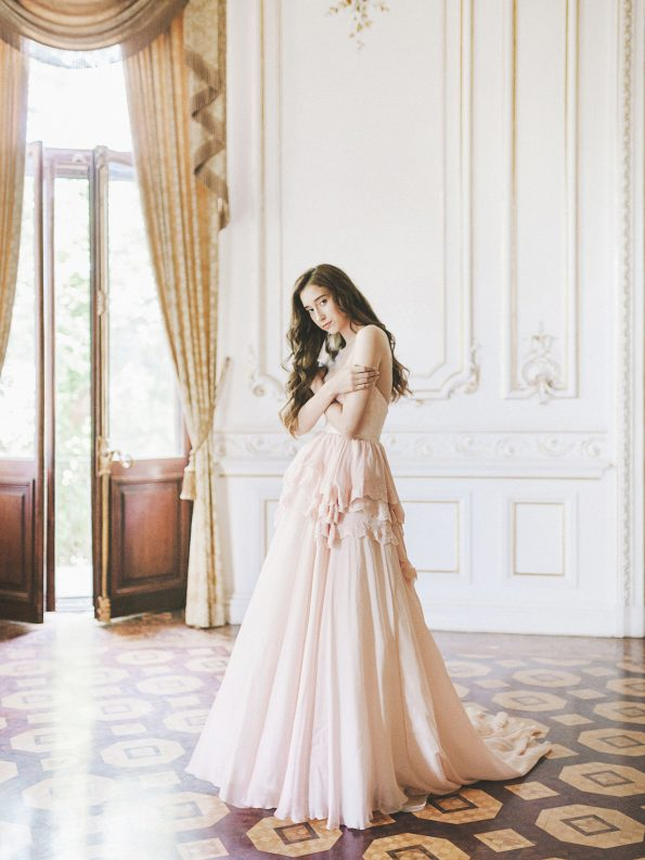 Strapless pink wedding gown
