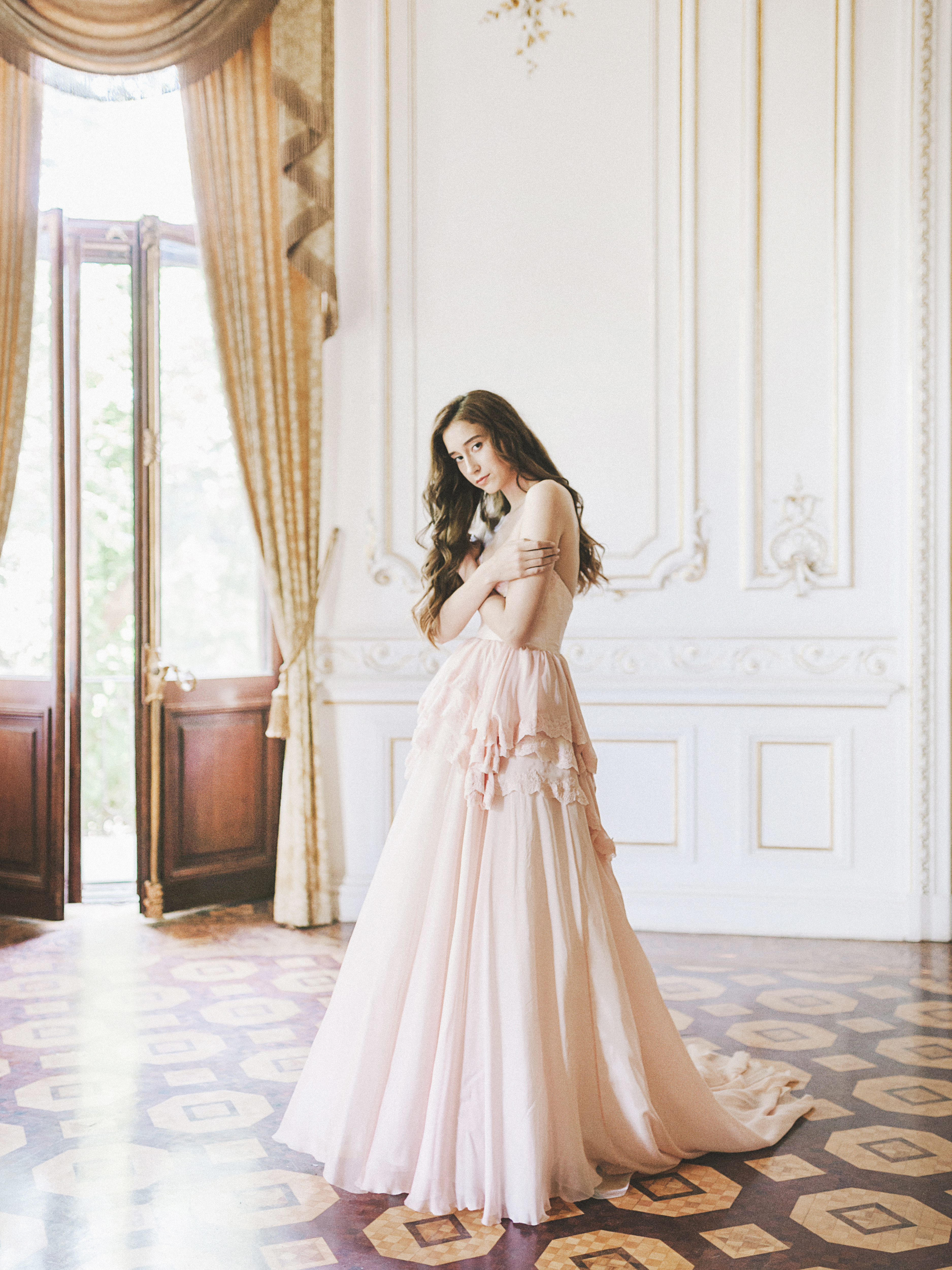 021324a4b11 Home Wedding Dresses Pink strapless wedding gown with tiered skirt. 🔍.  Previous  Next