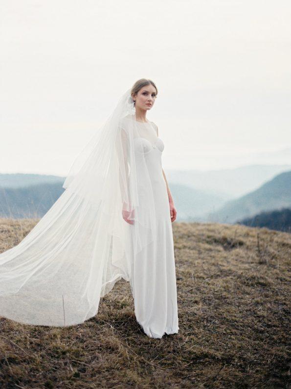 Nude Wedding Dress with Sheer Back