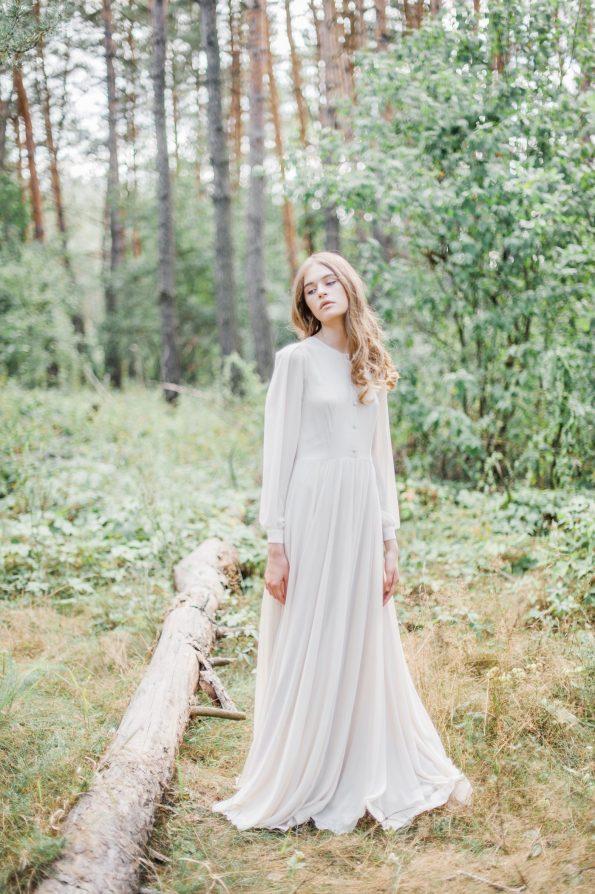 Olive Wedding Dress with Shirtwaist Bodice