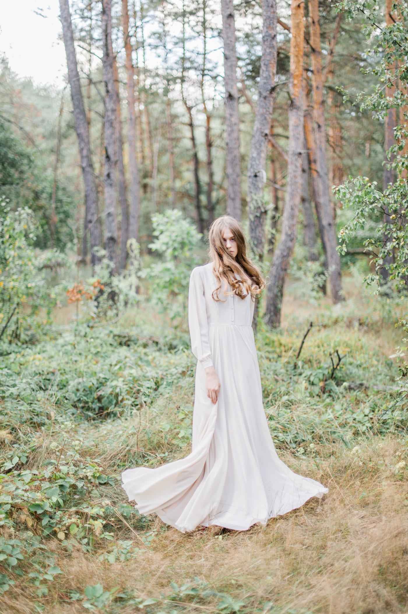 Morey Olive Wedding Dress With Shirtwaist Bodice