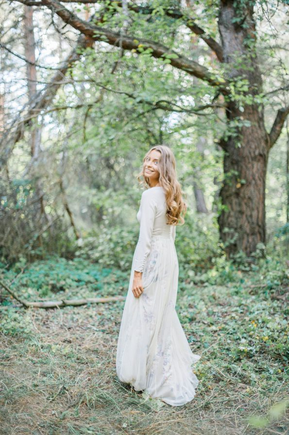 Nude wedding dress with floral skirt