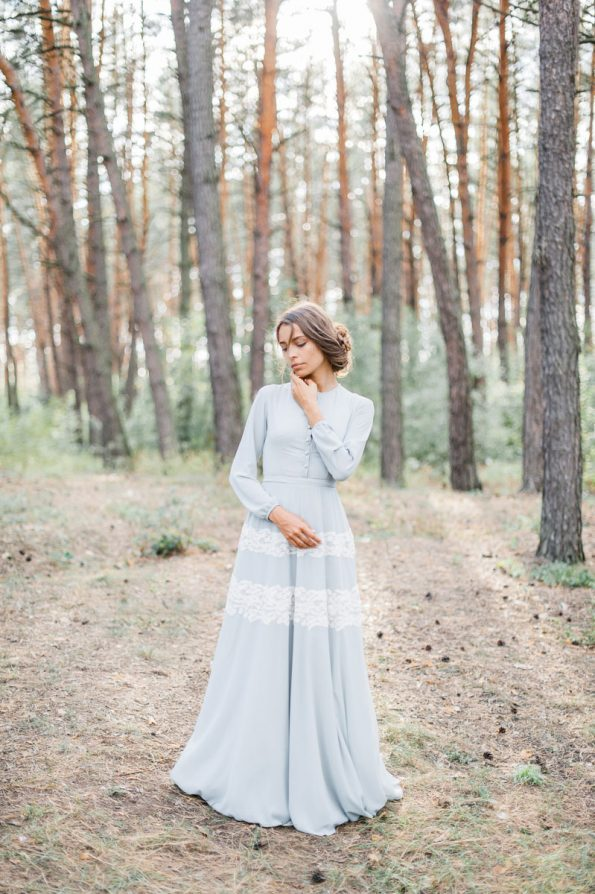 Sage green shirtwaist wedding dress