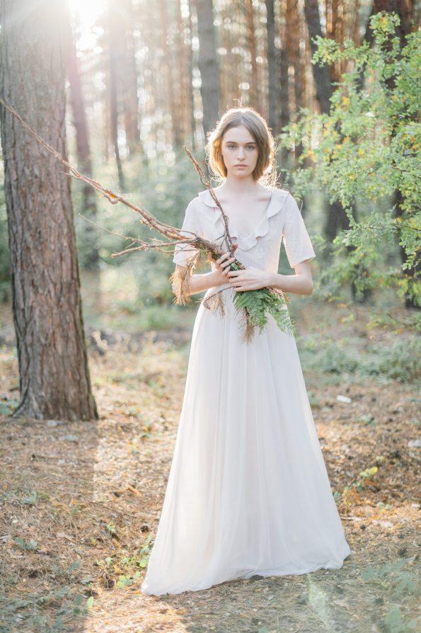 Nude ruffled bodice wedding dress