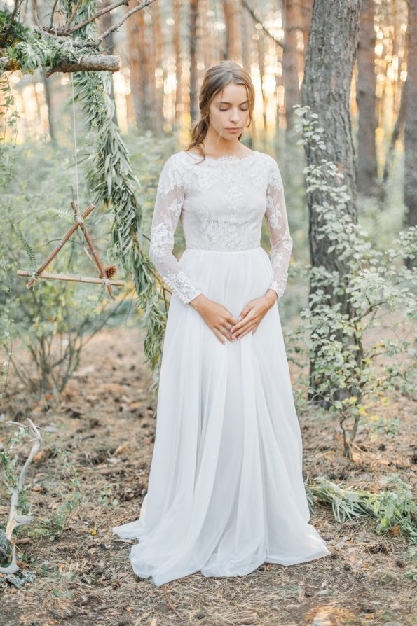 Wedding dress with high-neck