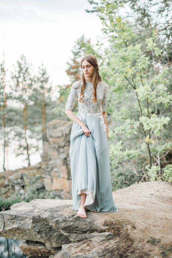 Sage green a-line wedding dress