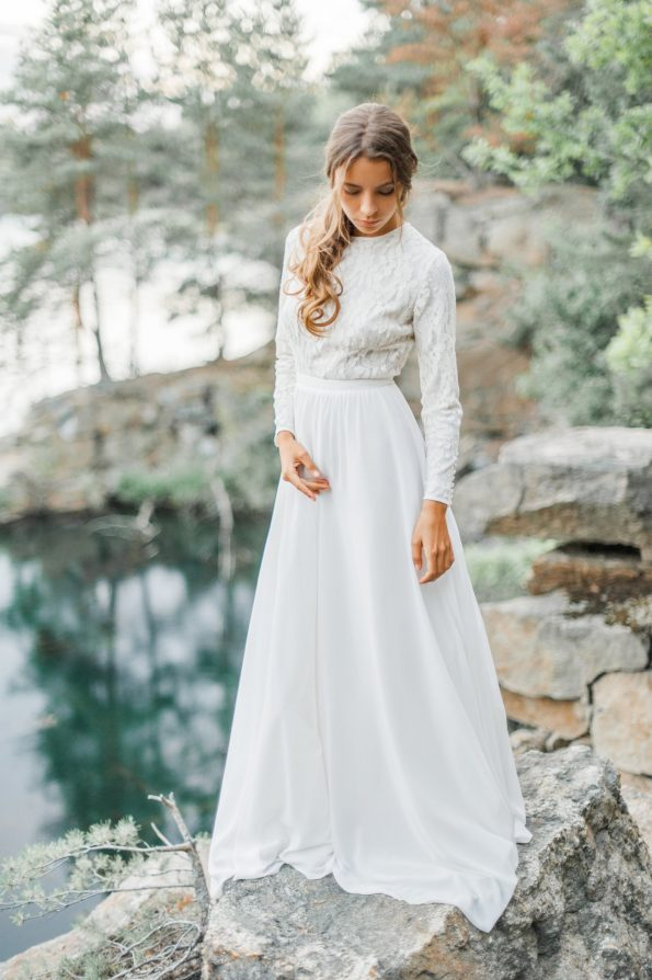 Wedding dress with long lace sleeve
