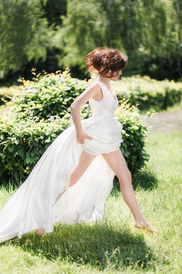 Off-white strap wedding dress
