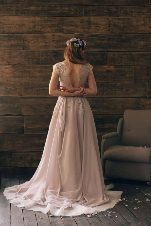 Lavender Silk Wedding Dress