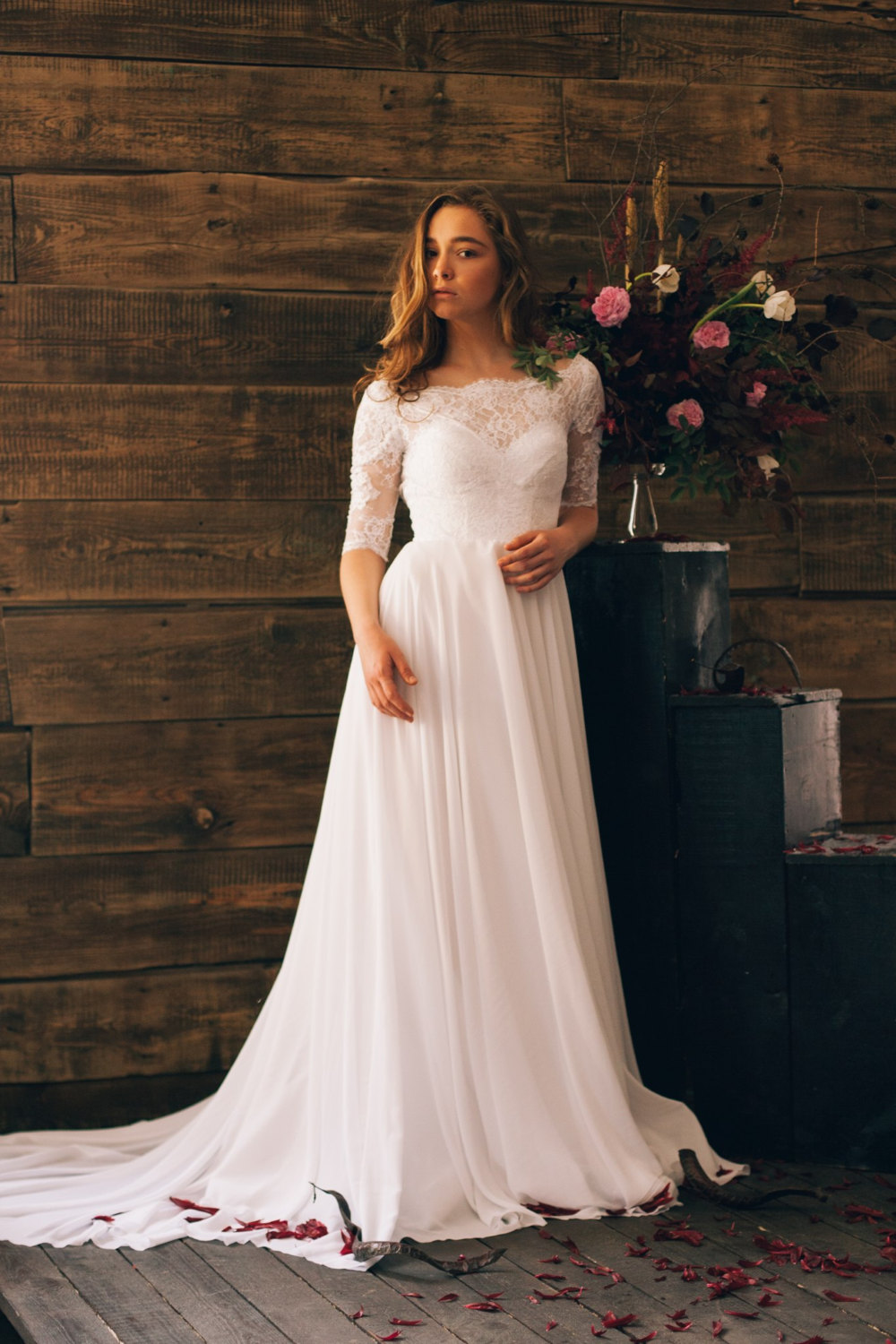 Vintage inspired open back wedding dress with sheer lace sleeve ...