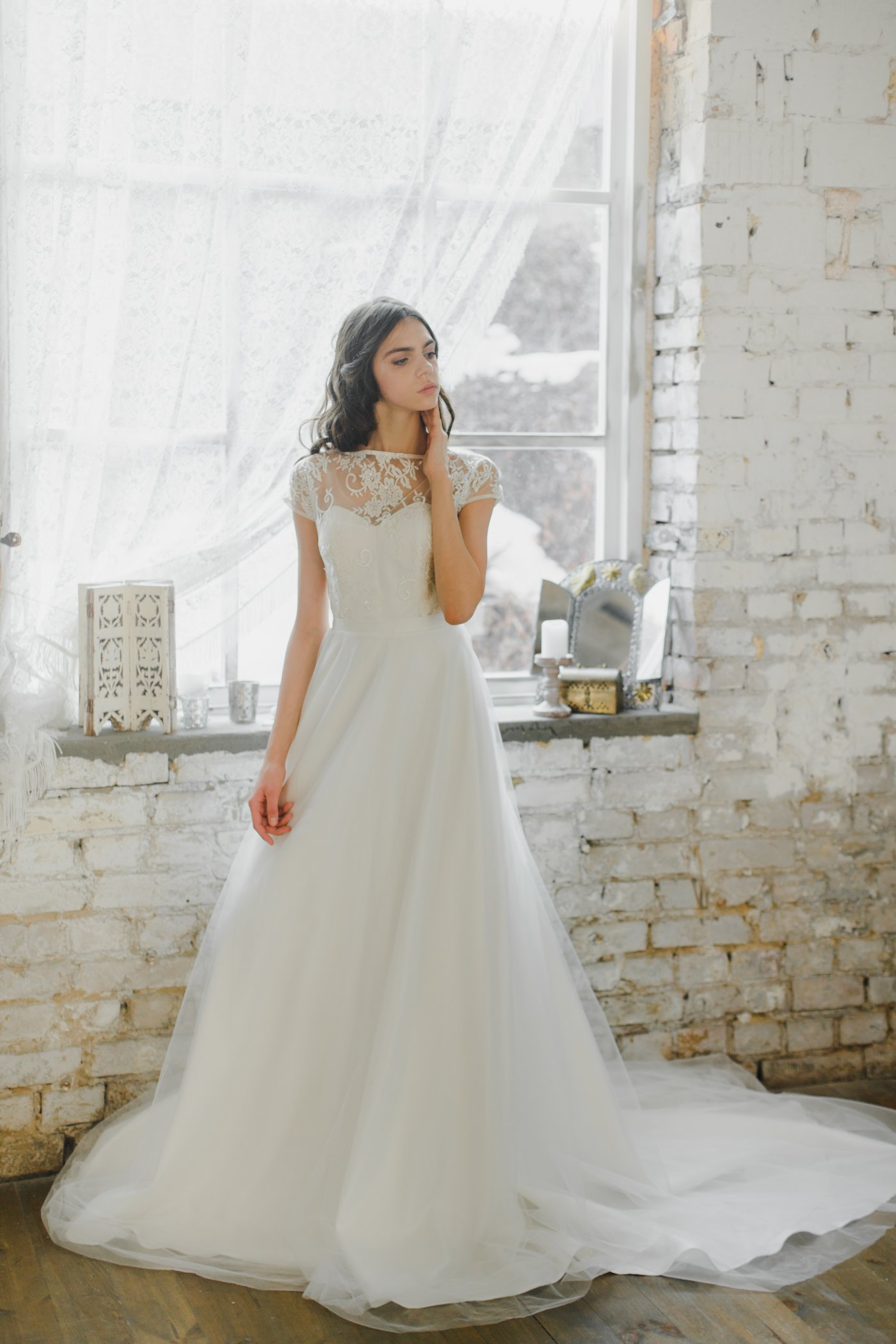 Cap Sleeve Illusion Neckline Wedding Dress With Layered Skirt