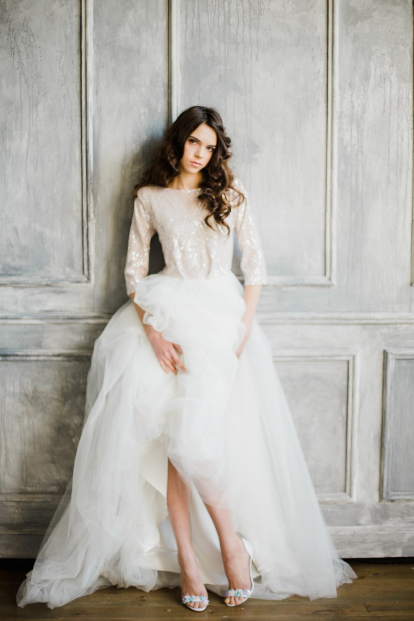 Sequin elbow sleeve high-neck wedding dress | Cathy Telle