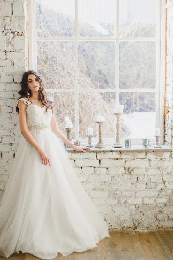 Off-white strap wedding dress