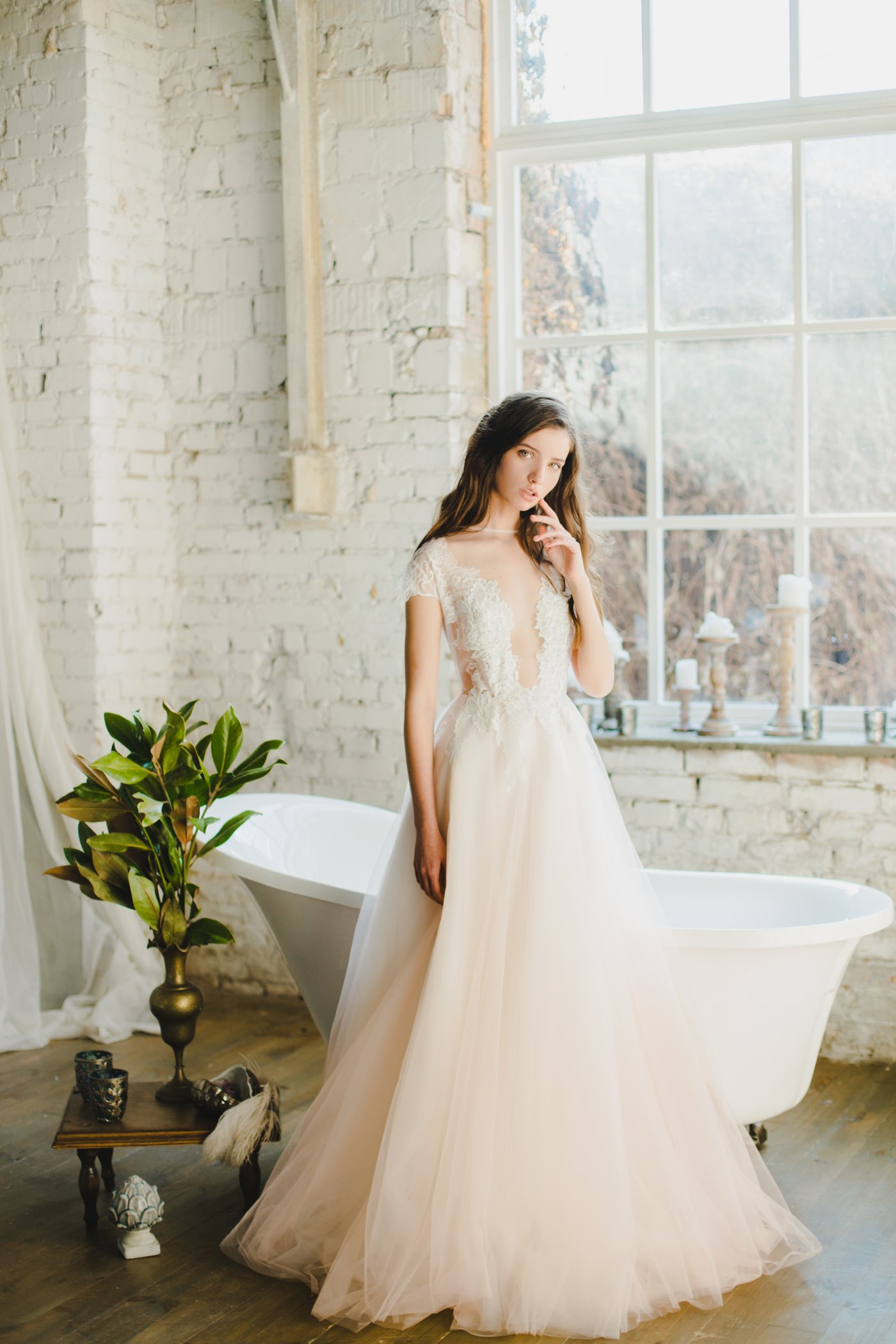 Peach cap sleeve wedding dress with sheer bodice | Cathy Telle