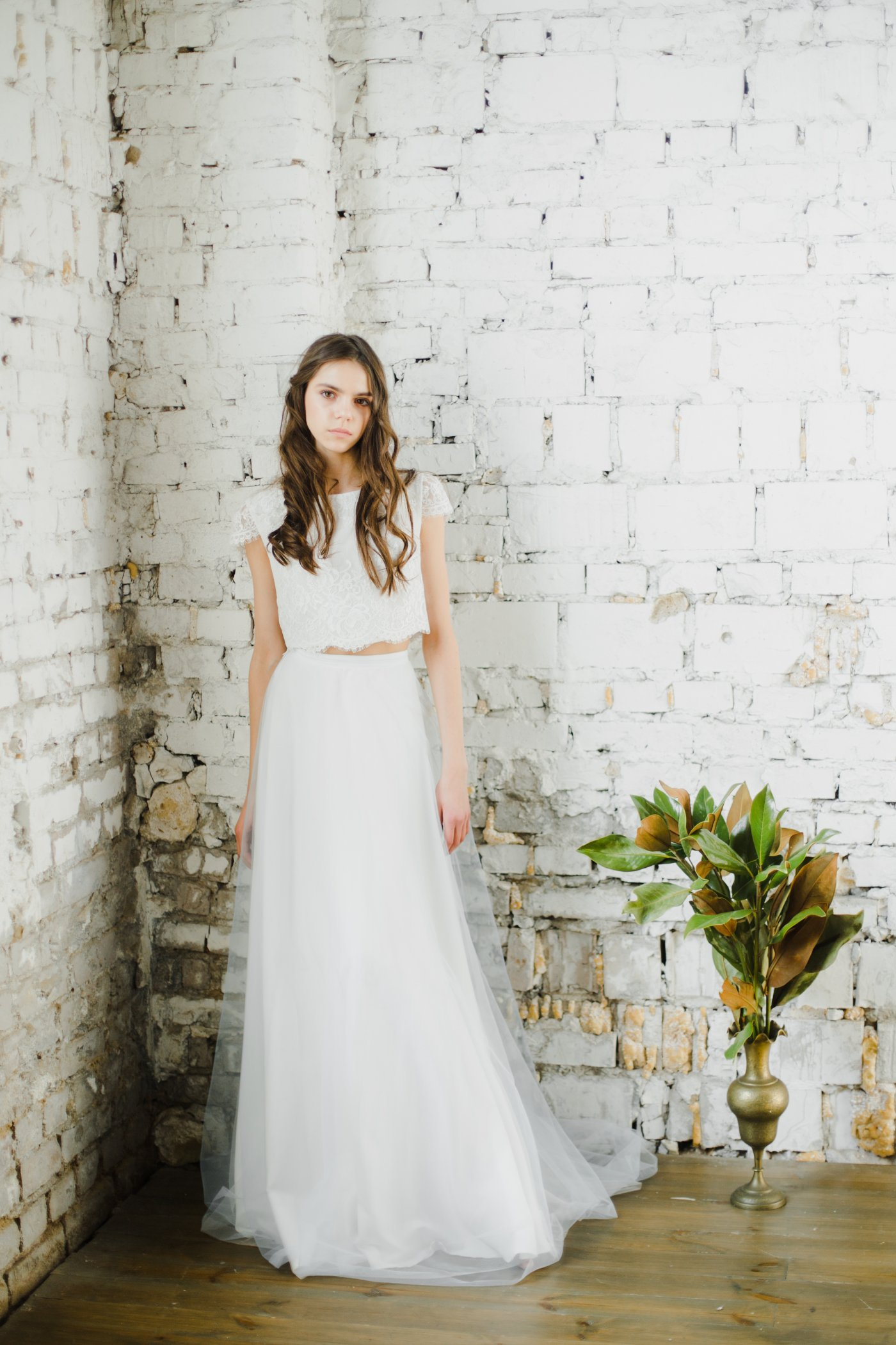 Crop Top Wedding Dress With Layered Skirt Cathy Telle