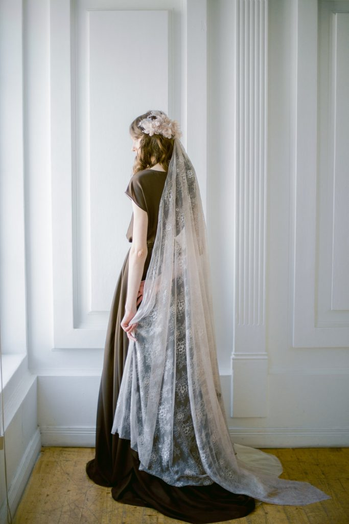 coffee lace wedding veil with handsewn textile headpiece