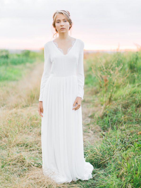 Off-white long sleeve wedding dress