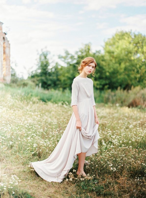 Nude cotton wedding dress