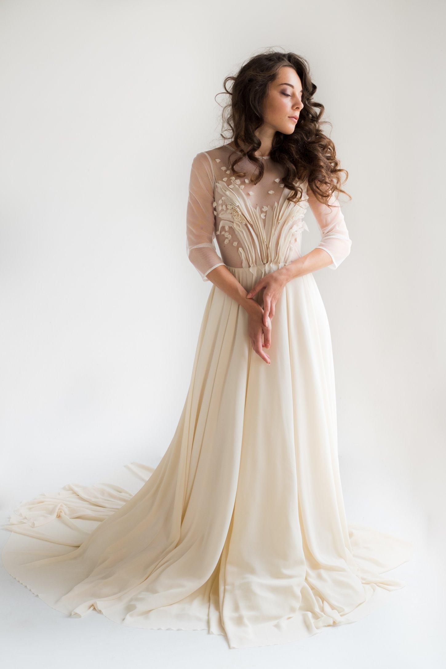 Sheer wedding dress with hand cut silk ribbons embellishment | Cathy ...