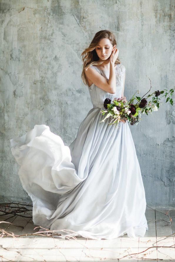 Blue grey illusion neckline wedding dress