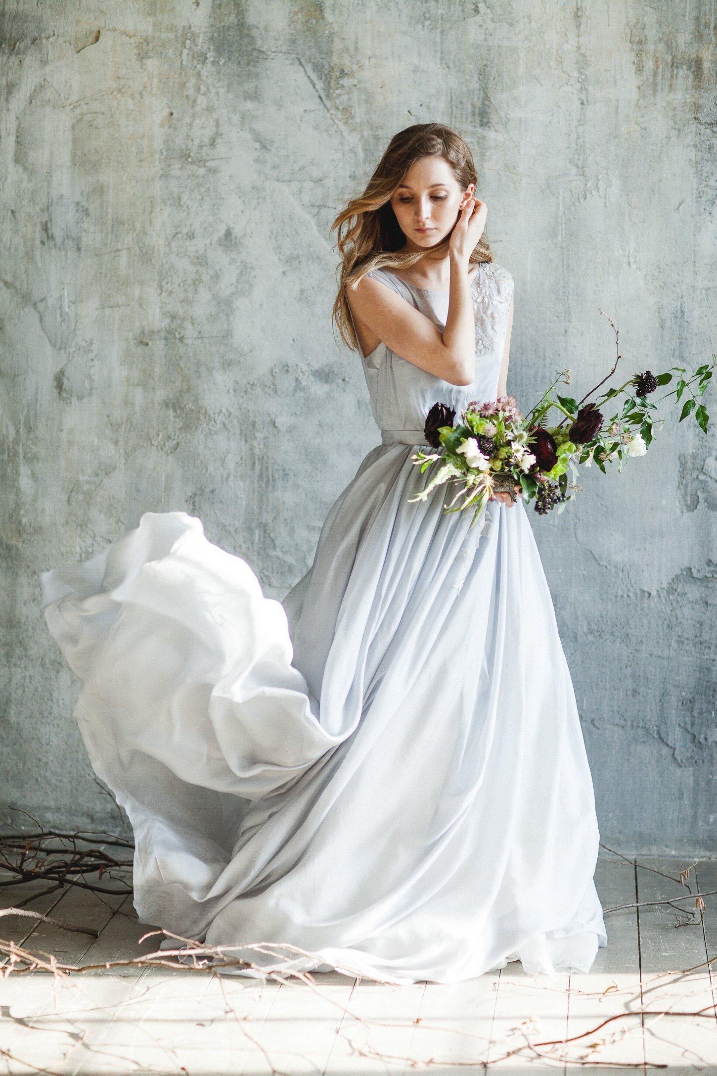 Grey Wedding Dress.Blue Grey Illusion Neckline Wedding Dress With Sleeveless Bodice