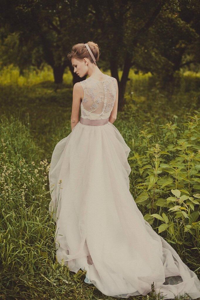 Lilac sleeveless wedding dress with sheer bodice | Cathy Telle