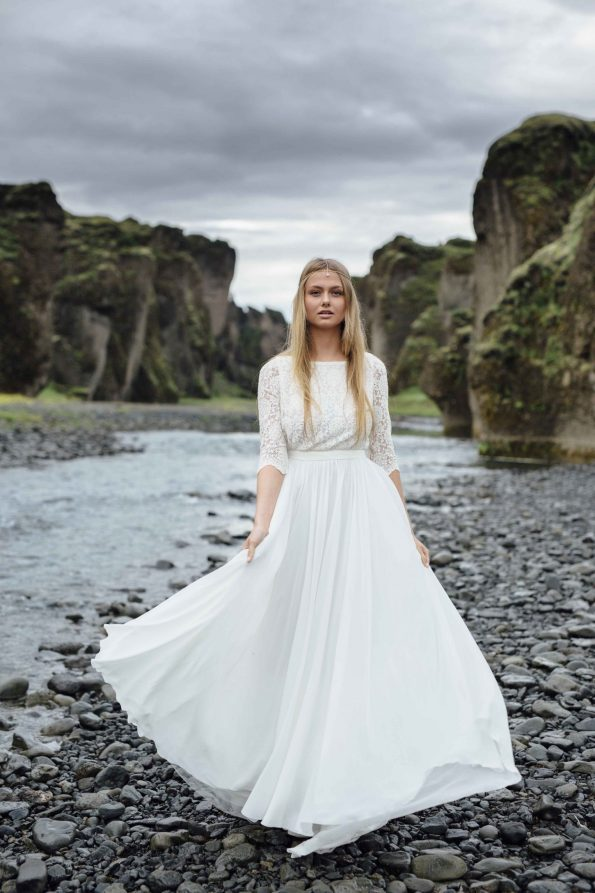 Off-white high-neck wedding dress