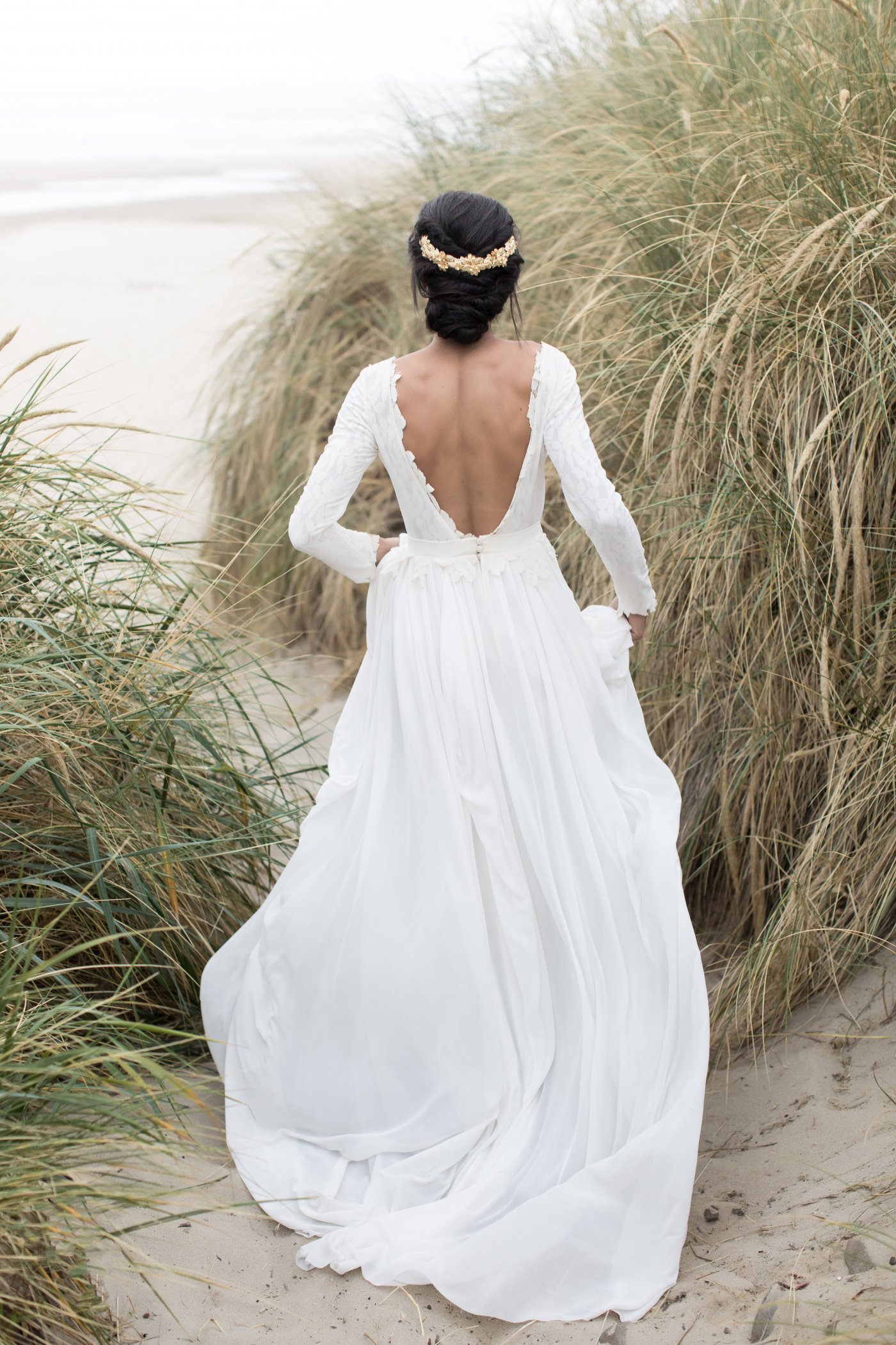 Off-white open back wedding gown with long sleeve bodice | Cathy Telle