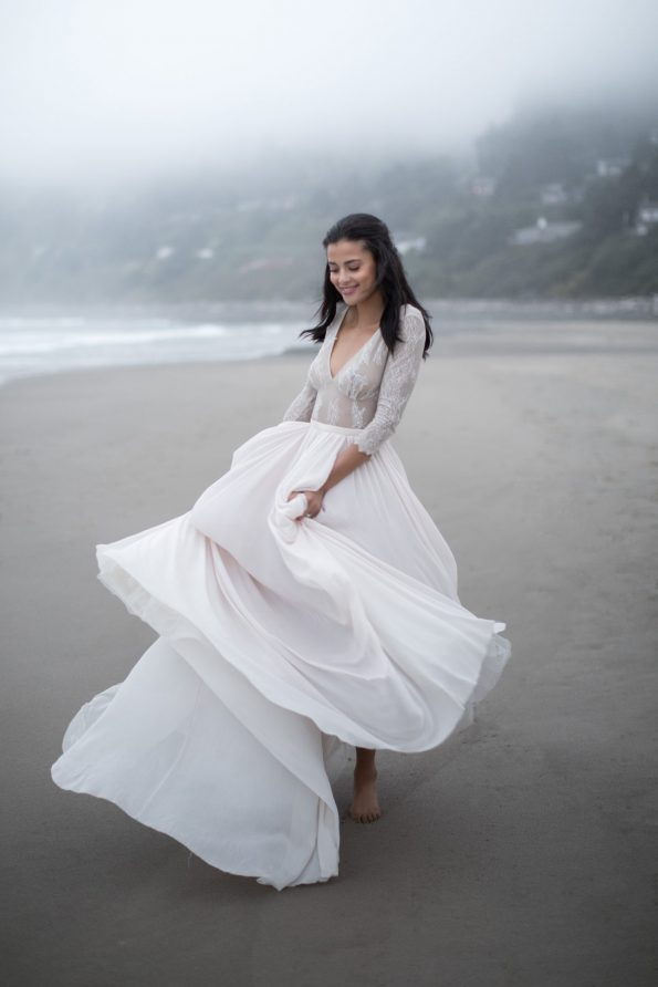 Lace sleeve lavender wedding dress