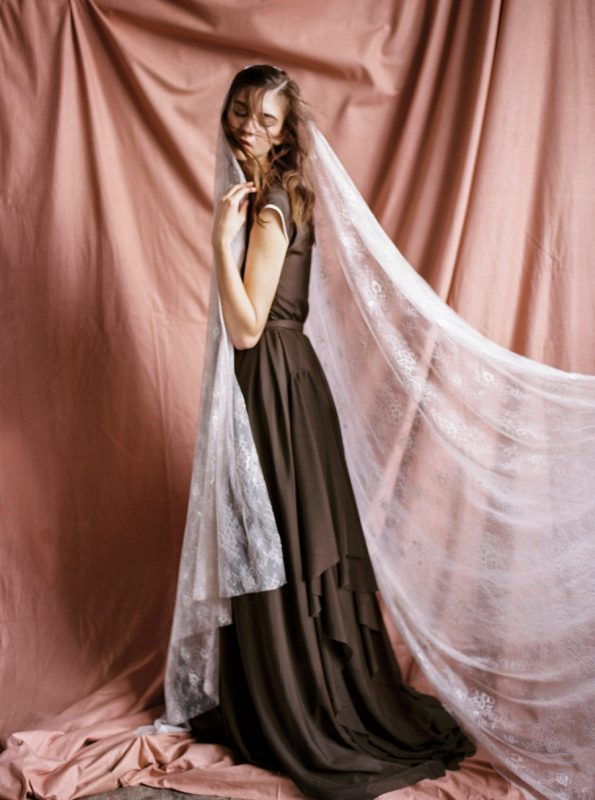 Chocolate brown tiered wedding dress