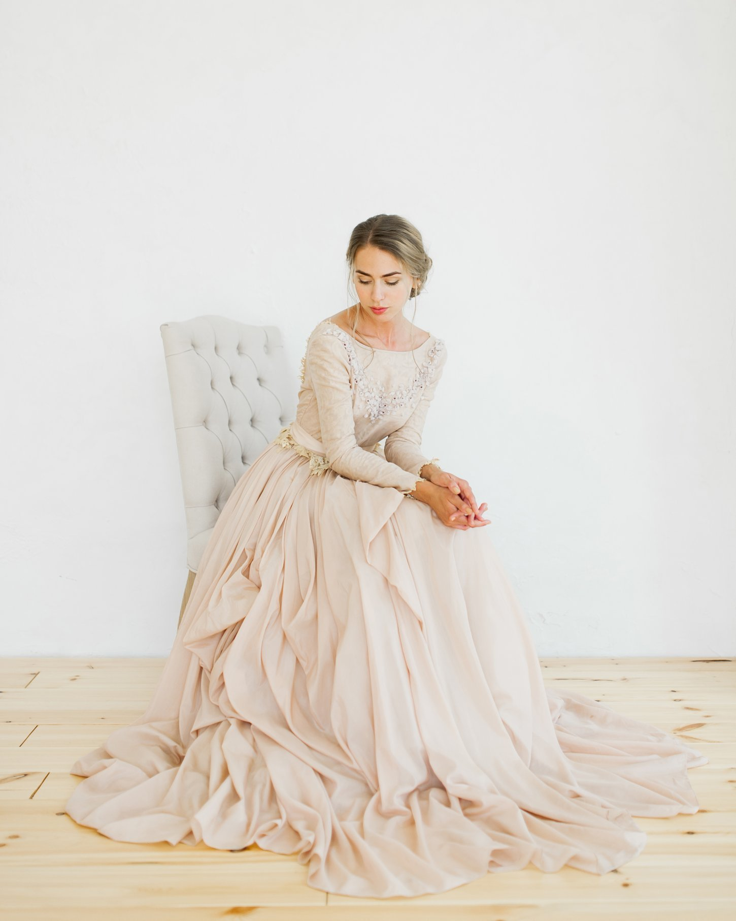 Ball-gown open back wedding dress with lace lining | Cathy Telle