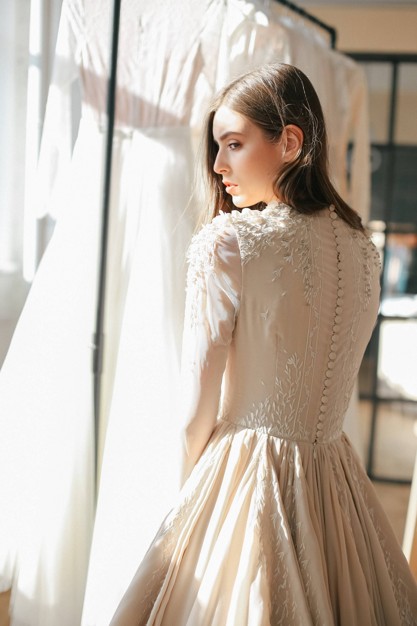 Ball gown wedding dress with sheer long sleeve embroidered for Sheer bodice wedding dress