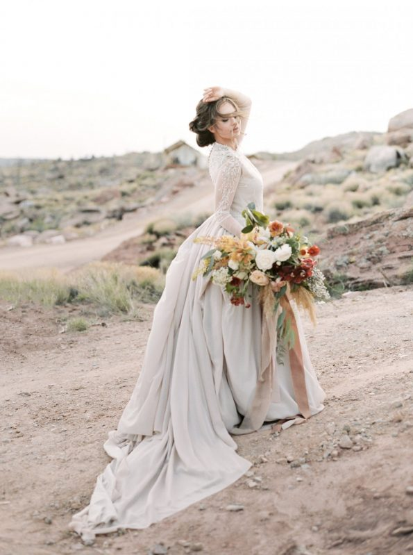Ball-gown wedding dress with sheer long sleeve